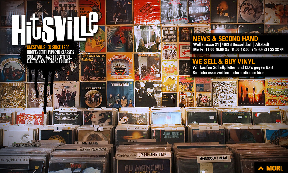 We buy & sell News & Second Hand Lp Vinyl CD. Ankauf von CD und Schallplatten gegen Barzahlung. ALTERNATIVE, INDEPENDENT, PUNK, HC, CLASSIC, SOUL, FUNK, JAZZ, ROCK n ROLL, ELECTRONICA, REGGAE, OLDIES